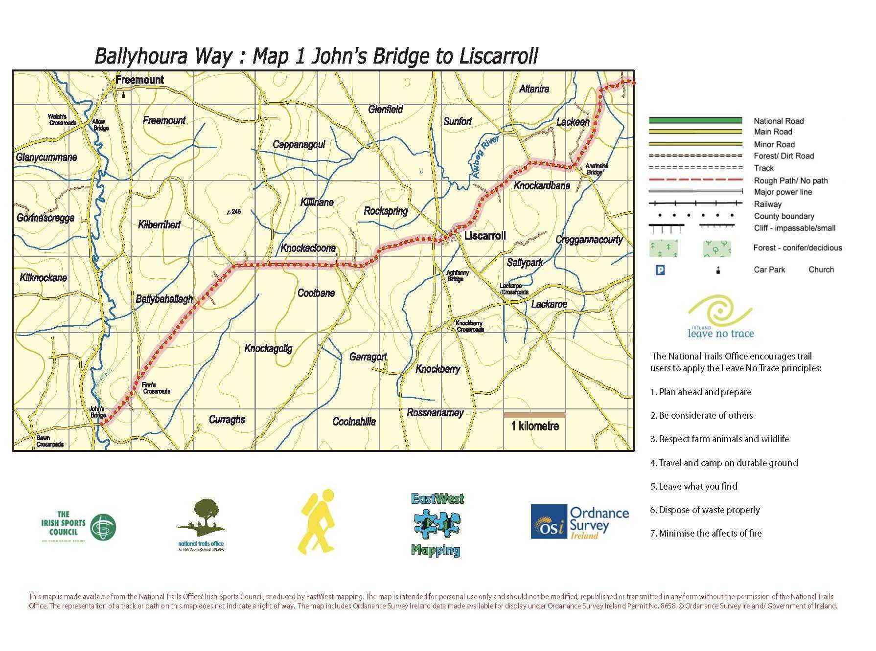 BHW Map 1 Johnsbridge to Liscarroll